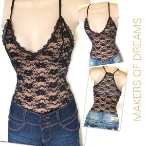 NWT Lace Busty Bodysuit Bralette Lacey Tank Top